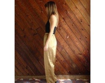 20% off SUMMER SALE. . . Gold Satin High Waist Trousers Pants - Vintage 90s - S/M