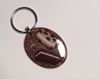 Ice cream sandwich glitter resin key ring