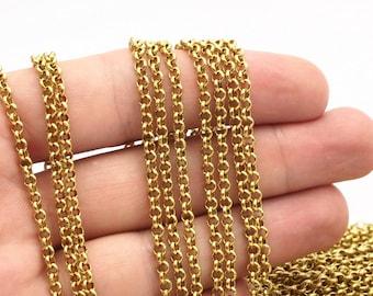3 M. Raw Brass Open Link Rolo Belcher Chain , ( 3.2mm ) Bs 1017