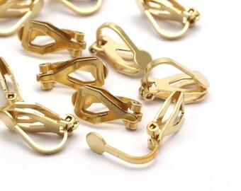 Brass Earring Clasps, 50 Raw Brass Earring Clasps (12mm) 4mm Pad D403--c071