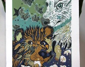 Grizzly bear and Polar Bear woodcut, large wall art
