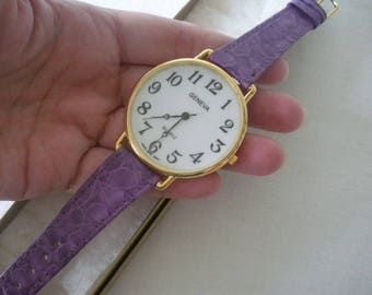 Ladies Geneva Wrist Watch PURPLE Genuine Leather Watch Band LARGE White FACE Watch Gold Tone Metal Hardware