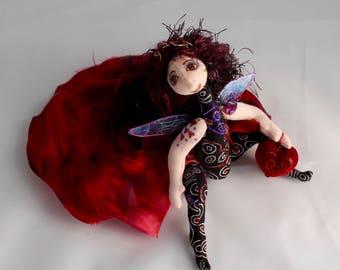 cloth art doll, ooak, Inndis the love fairie
