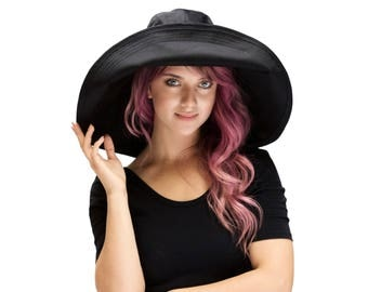 Black Women's Sun Hat Floppy Sun Hat Wide Brim Beach Hat Crushable Packable Travel Hat Giant Brim Sunhat