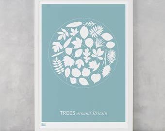 Trees Around Britain, Trees Around Britain Screen Print, Trees Wall Art, Trees Wall Poster, Nature Wall Art, Nature Wall Decor, Trees Print