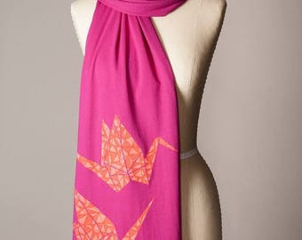 SUMMER SALE paper crane scarf, hot pink scarf, magenta scarf, raspberry scarf, fuchsia scarf