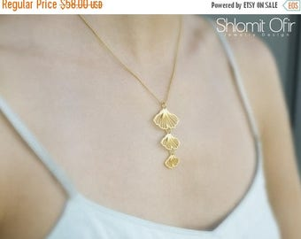 On Sale 40% off, Gingko Necklace in Matte Gold
