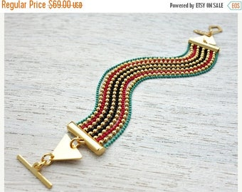 On Sale 40% off, Rio Bracelet, colorful Mexican style geometric  gold silver plated jewelry