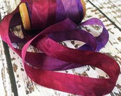 13mm wide Habutai Silk Ribbon Hand Dyed for Ribbon Embroidery and Embellishments.