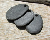 FLAT Natural Stone Pendants Beach Stone Pendants Top Drilled Lake Stones 3mm