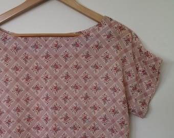 sweet georgette...vintage fabric loose fit blouse