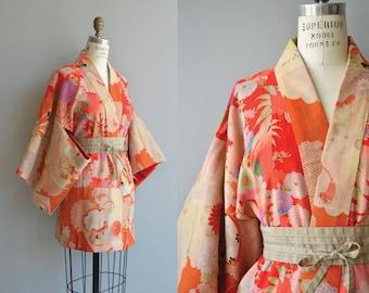 Sukeko woven silk and wool haori | vintage 1930s haori | floral japanese jacket