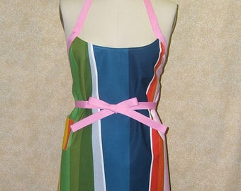 Rainbow stripe apron pink tie cell pocket light weight canvas sewn by me xl xxl xxxl bright colors uneven