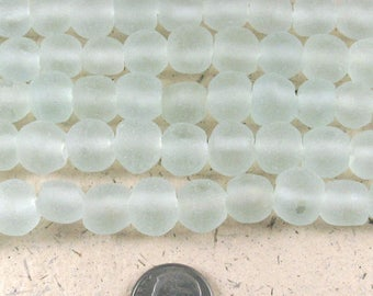 """15"""" Recycled Glass Rustic Round Beads-SEAFOAM GREEN 10mm (40)"""