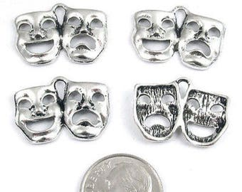 Metal Theater Charms-Silver Drama Comedy TRAGEDY MASK 15x21mm (20 Pieces)