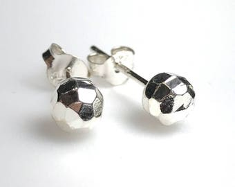 Faceted Silver Ball Studs