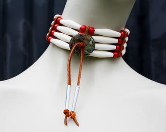 Native American Inspired Unisex Red and Cream Colored Faux Bone and Bead Choker Necklace