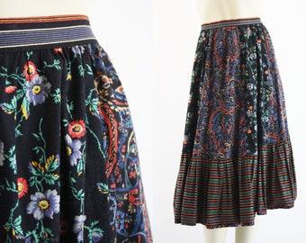 1970's Vintage Neiman Marcus Bis Bis High Waist Prairie Floral Print Retro Women's Midi Skirt