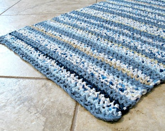 """Handmade crocheted rag rug, bath mat, textured, striped, blue, white, country, cottage, farmhouse, baby, folk, more, rectangle, 22"""" X 35"""""""