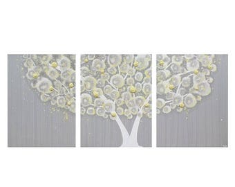 ON SALE Yellow and Gray Canvas Art Painting of Tree - Textured Wall Art - Large 50X20