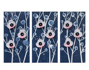 ON SALE Nursery Wall Art for Girls - Blue and Pink Orchid Painting Original Triptych Canvas - Medium 32x20