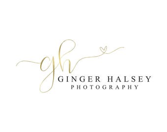 Gold Logo Heart Logo Photography Logo Calligraphy Logo Photography Watermark Full Branding Package Blog Logo Makeup Artist Logo Design