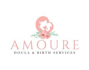 Watercolor Logo Flower Logo Doula Logo Birth Services Logo Midwife Logo Lotus Logo Yoga Logo Branding Package Midwifery Service Logo