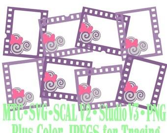 Filmstrip Frames Boy & Girl Mouse Head Design #04 Amusement Park Embellishments Cut Files MTC SVG SCAL and more File Format