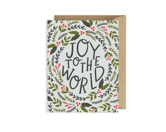 Joy to the World Floral Christmas Card