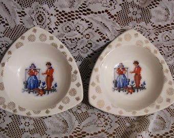 Two Tricorne by Salem Dishes - 22 Carat Gold Decorated