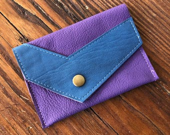 Leather purple coin or card case