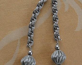 "On sale Pretty Vintage Silver tone Tassel Necklace, 35"" (AD15)"