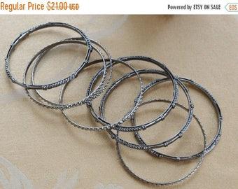 On sale Pretty Vintage Darkened Silver Bangle Lot (8)