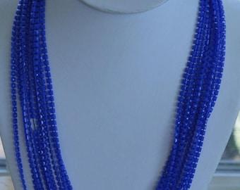 On sale Pretty Vintage Royal Blue Plastic Beaded Multi-Strand Necklace (AH1)