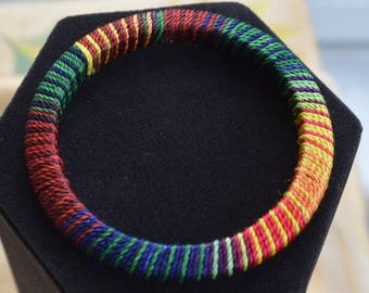 ON SALE Pretty Vintage Multi-Colored Cord Wrapped Bangle Bracelet, Rainbow, Lightweight