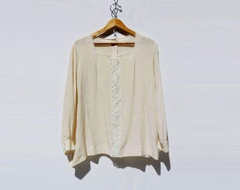 Boho White Blouse Cream Silk Blouse Vintage Silk Blouse Boho Peasant Blouse 1980s Lace Blouse Off White Blouse oversize m, l to xl