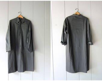 80s Gray Vinyl Raincoat Vintage Opaque Grey Slicker Mod Jacket Long Plastic PVC Trench Coat Grey Waterproof Rain Coat Mens Mens Small