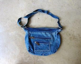 Basic Denim Bag 90s Blue Jean Purse Sporty Bag Vintage 1990's Shoulder Bag Preppy Hipster Bag Everyday Purse