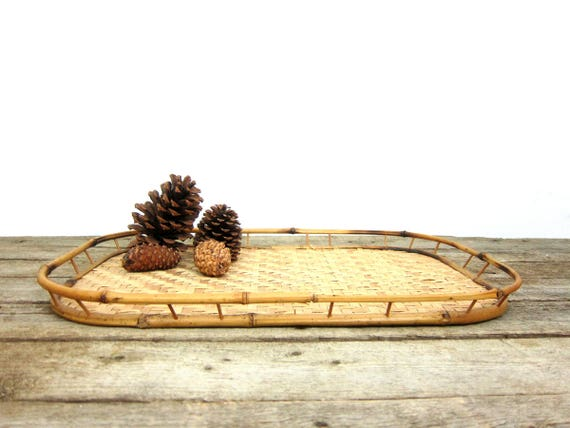 Vintage Bamboo Tray Vanity Dresser Organizer Natural Serving Tray Kitchen Home Decor Bohemian Chic Earthy Platter
