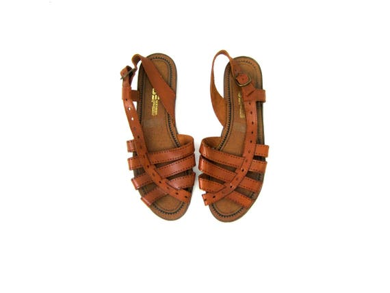 Brown Leather Sandals 80s Strappy Shoes Boho Barefoot Sandals Preppy Cut Out Vintage Open Toe Heel Huaraches Womens Flats size 8