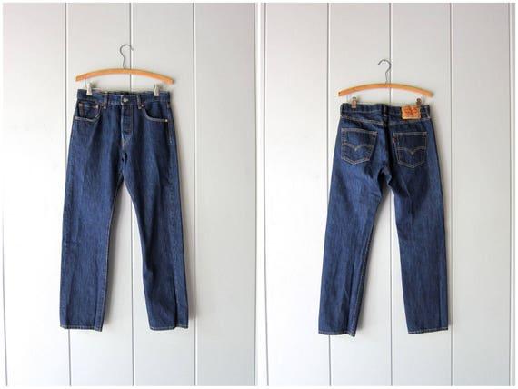 LEVIS 501 Dark Blue Jeans BUTTON FLY Denim Jeans Straight Leg Boyfriend Jeans Vintage Farmers Mechanics Hipster Grunge Jeans Mens 30 X 30