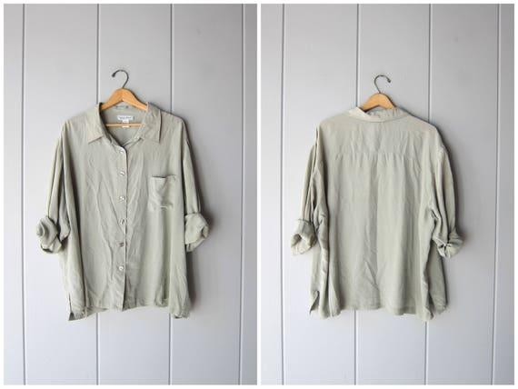 Oversized Silk Blouse Loose Fit 90s Pale Green Long Sleeve Silk Shirt Basic Minimal Top Plain Silk Modern Casual Blouse Vintage Womens 2XL