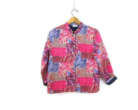 Quilted Jacket Floral Patchwork Print jacket Preppy Light Paisley Coat Button Up Jakcet Purple Pink Pattern Hipster Coat Women's size Medium