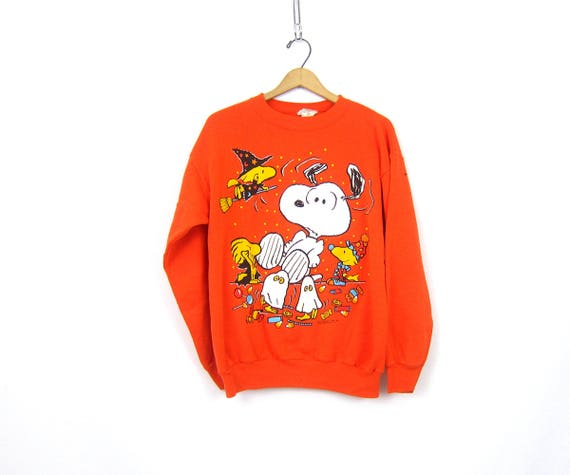 Orange Snoopy and Woodstock Halloween PEANUTS Sweatshirt tacky vintage Holiday sweater Ugly Party sweater Novelty Sweater Size Large