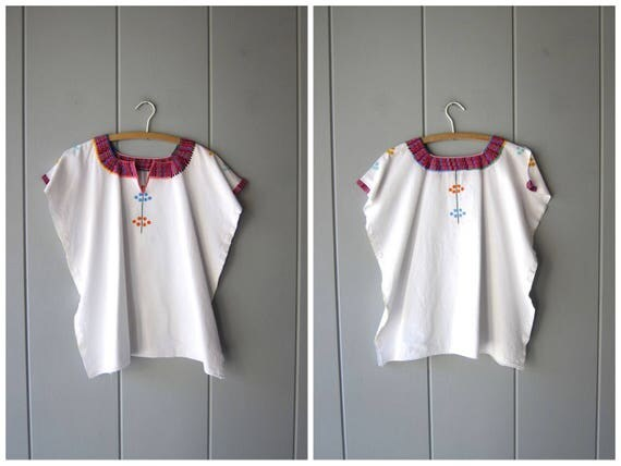 Embroidered Mexican Shirt Boxy White Cotton Top Oversized Hippie Shirt Boho 80s Ethnic Floral Top Embroidery Traditional Womens Large XL