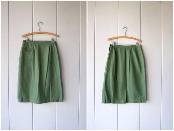 Green Wool Skirt 50s Pencil Skirt Vintage High Waist Knee Length Military Inspired Prep School Modern Minimal Skirt Pocket Womens Medium