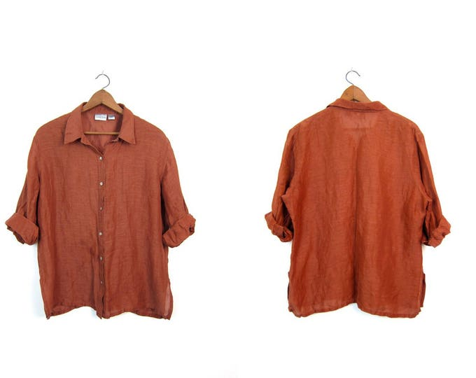 90s LINEN & SILK Button Up Blouse Copper Oversized Boxy Long Sleeve Shirt Airy Brown Minimal Modern THIN Blouse Vintage Women's Large Xl