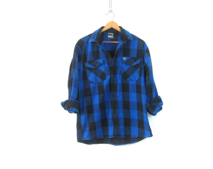 Buffalo Plaid Shirt Blue & Black Cotton Flannel Lumberjack Shirt Button Up Long Sleeve Hunting Shirt Grunge Vintage Mens Medium Large