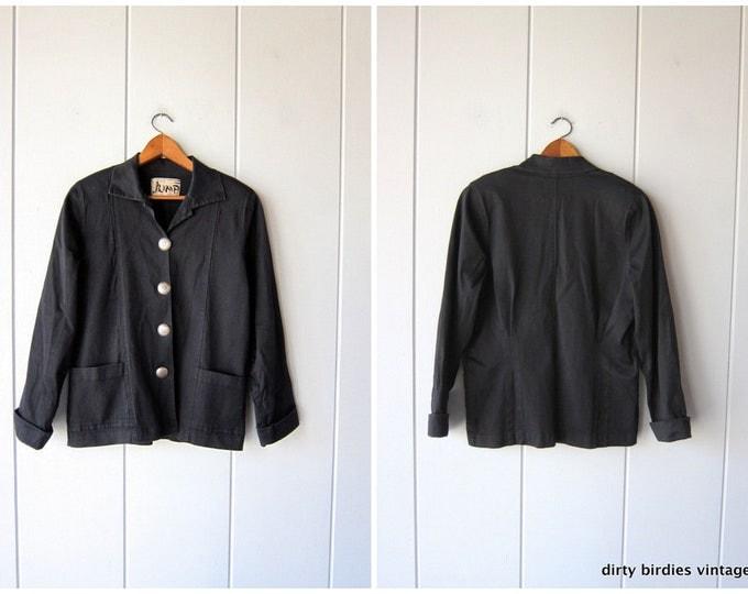 Oversized Black Jacket Cotton Stretch Denim Blazer Coat 90s Oversize Loose Fit Coat Slouchy Southwestern Jacket Womens Small Medium