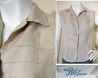 1950s Vintage Natural Linen Sleeveless Summer Blouse SZ S